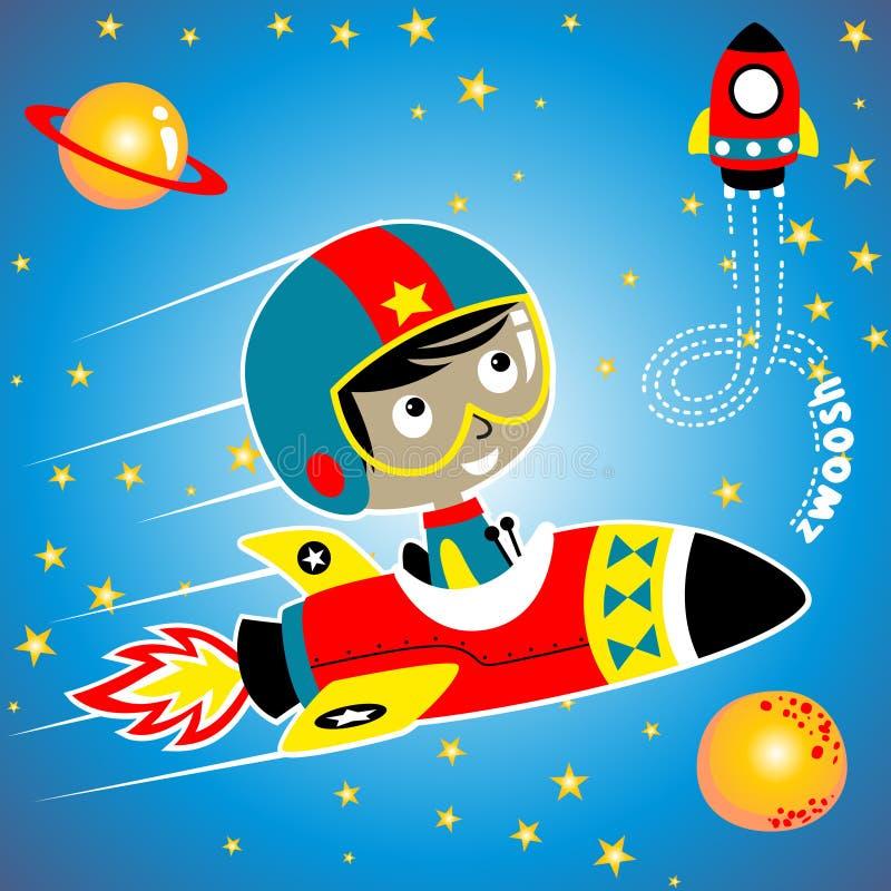 Śliczna mała astronauta kreskówka na statku kosmicznym royalty ilustracja