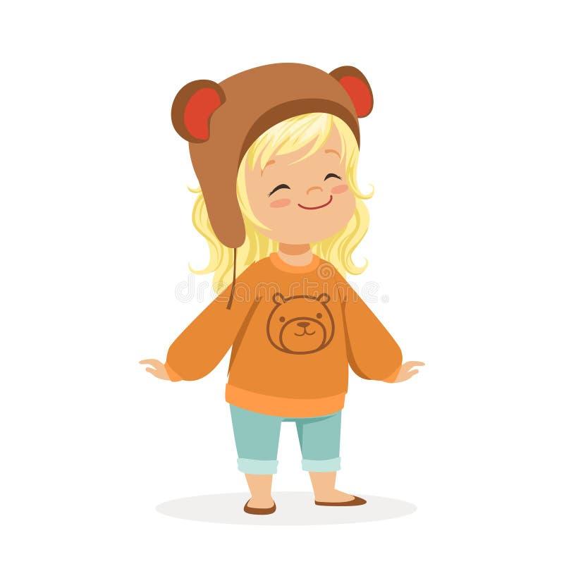 Śliczna mała blondynki dziewczyna ubierał w brown niedźwiedzia kapeluszu i pulowerze z misia kolorowym postać z kreskówki ilustracji