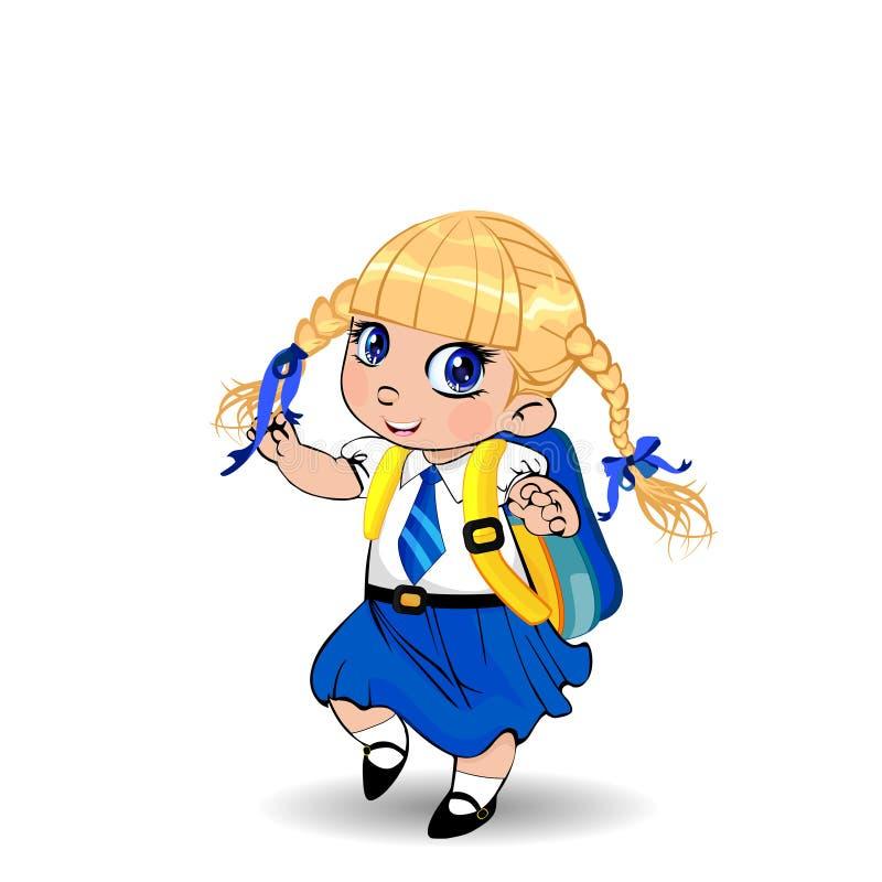 Śliczna mała blondynki uczennica jest ubranym mundur z plecakiem na białym tle z warkoczami i dużymi niebieskimi oczami ilustracja wektor