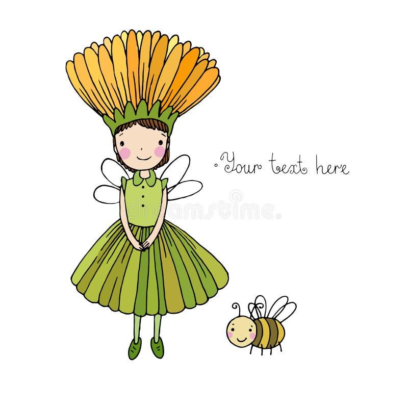 Śliczna mała czarodziejka i bumblebee royalty ilustracja