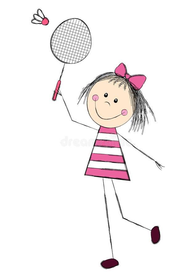 Śliczna mała dziewczynka bawić się badminton ilustracja wektor
