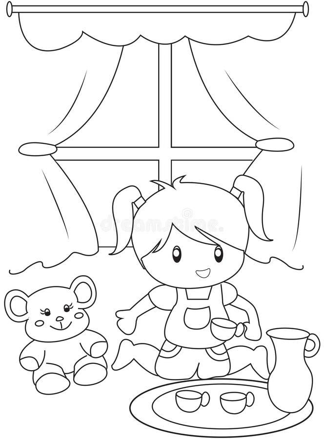 Śliczna mała dziewczynka bawić się indoors barwić stronę royalty ilustracja