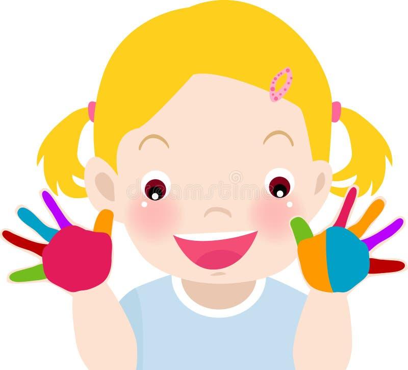 Śliczna mała dziewczynka bawić się z farbami ilustracji