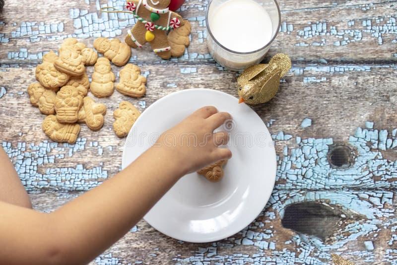 Śliczna mała dziewczynka bawić się z Santa mlekiem i ciastkami zdjęcia royalty free