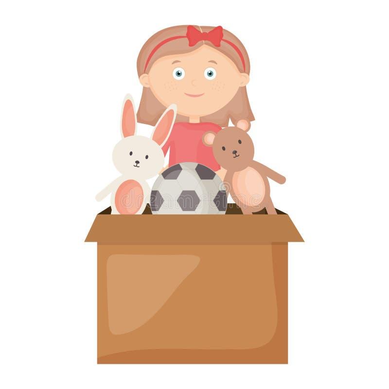 Śliczna mała dziewczynka bawić się z zabawki pudełkiem ilustracja wektor