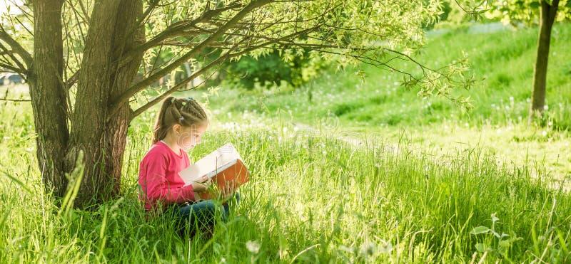 Śliczna mała dziewczynka czyta książkę obrazy stock
