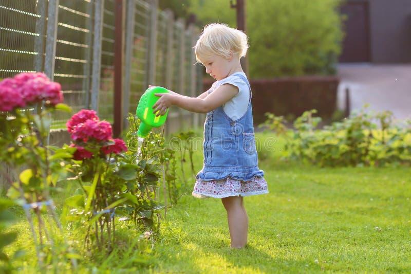 Śliczna mała dziewczynka daje woda ogródu kwiaty zdjęcie stock