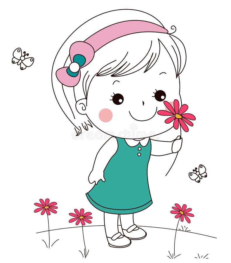 Śliczna mała dziewczynka i kwiat ilustracja wektor