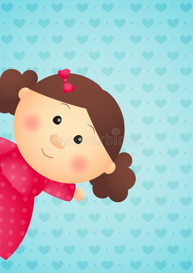 Śliczna mała dziewczynka na błękicie royalty ilustracja