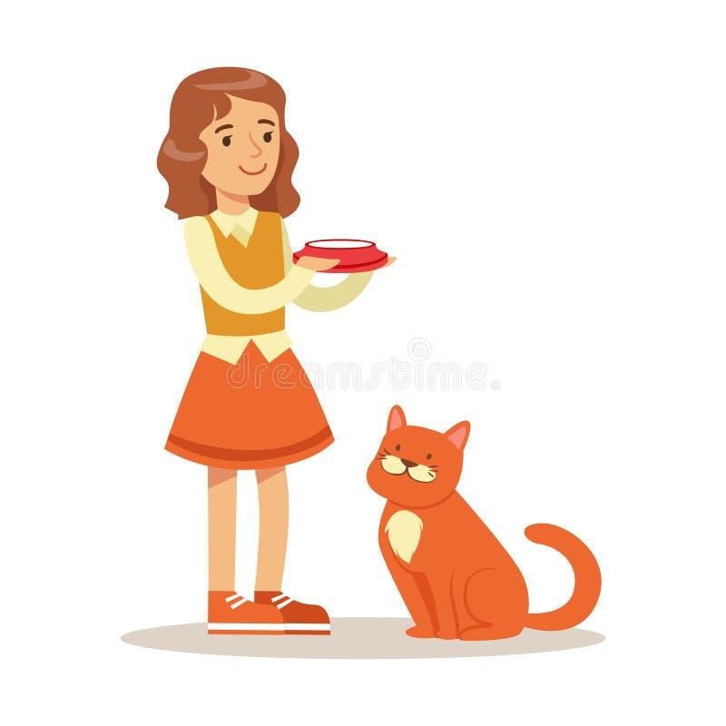 Śliczna mała dziewczynka trzyma puchar z dojnym i czerwonym kota obsiadaniem obok ona Kolorowy postać z kreskówki wektor ilustracji