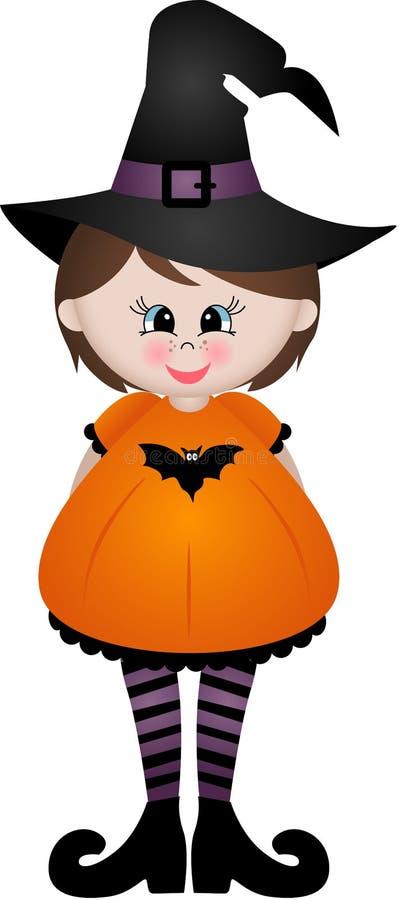 Śliczna mała dziewczynka ubierająca jako czarownica ilustracji