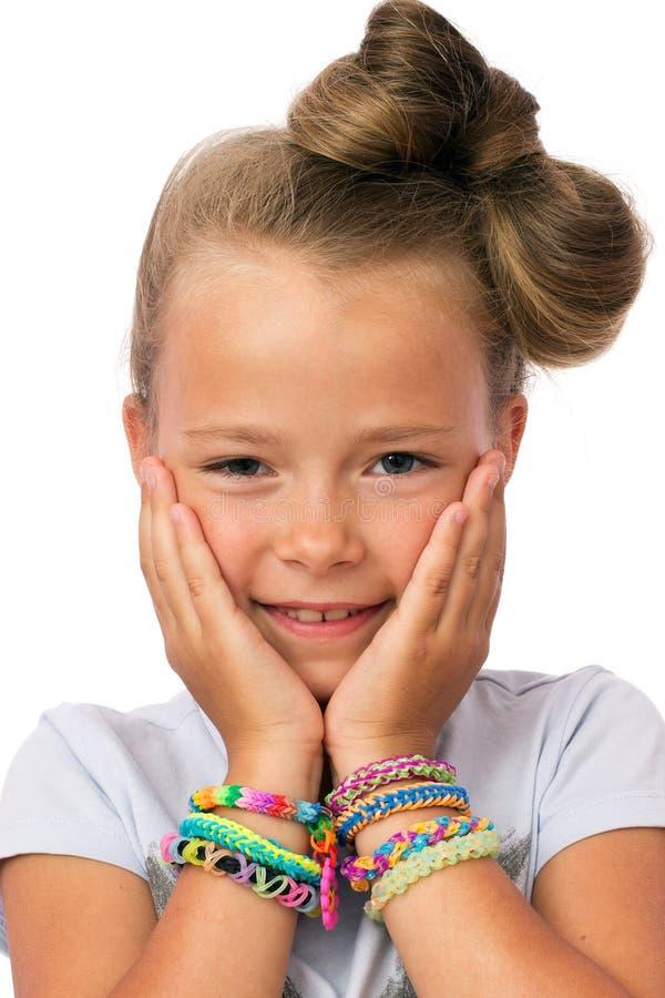 Śliczna mała dziewczynka z nowożytną fryzurą obrazy royalty free