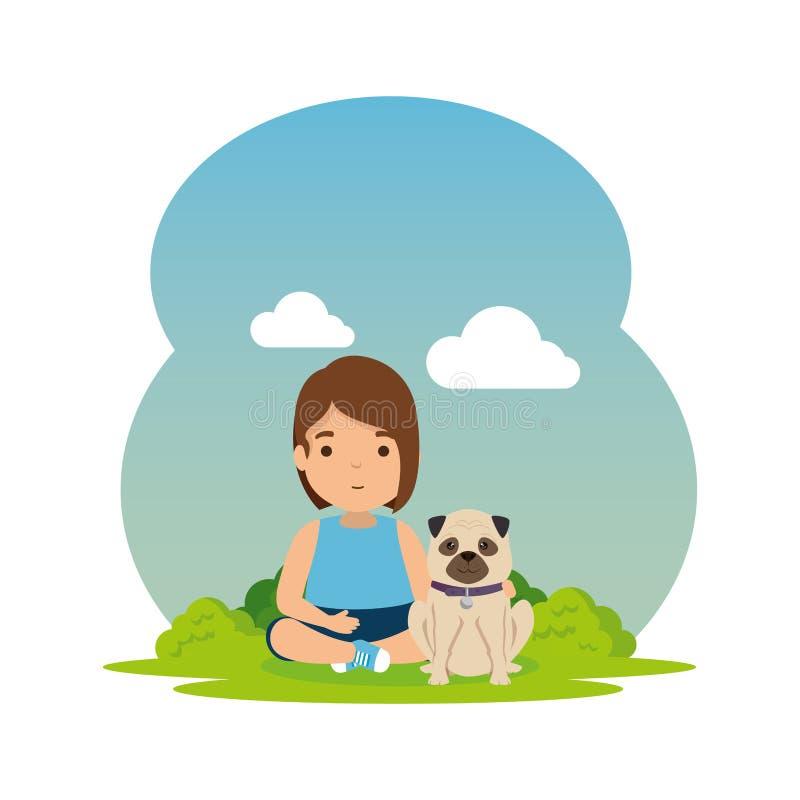 Śliczna mała dziewczynka z szczeniakiem w obozie ilustracja wektor
