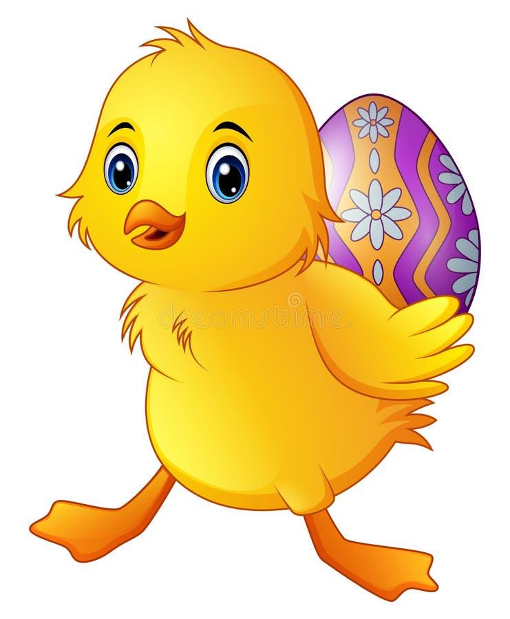 Śliczna mała kaczka niesie dekorującego jajko ilustracji