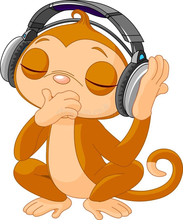 Śliczna mała Małpia słuchająca muzyka ilustracja wektor