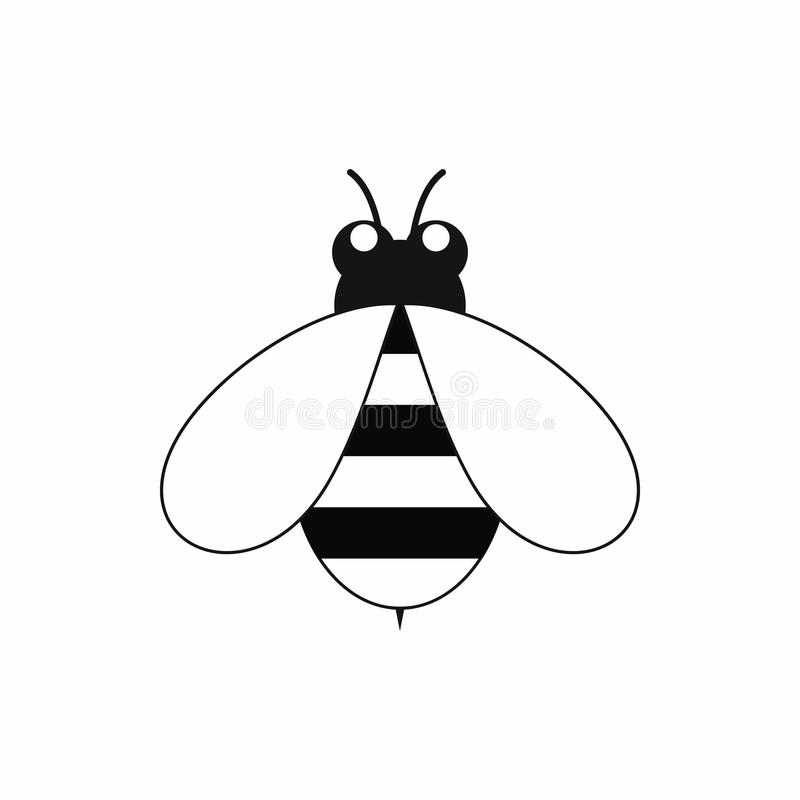 Śliczna mała pszczoły ikona, czarny prosty styl royalty ilustracja