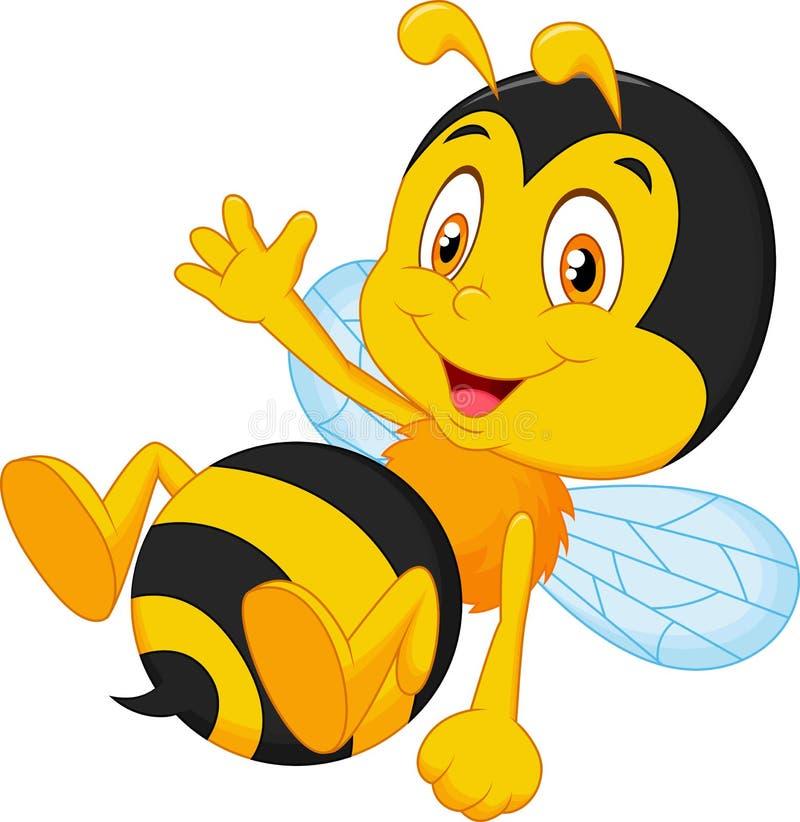 Śliczna mała pszczoły kreskówki falowania ręka ilustracja wektor