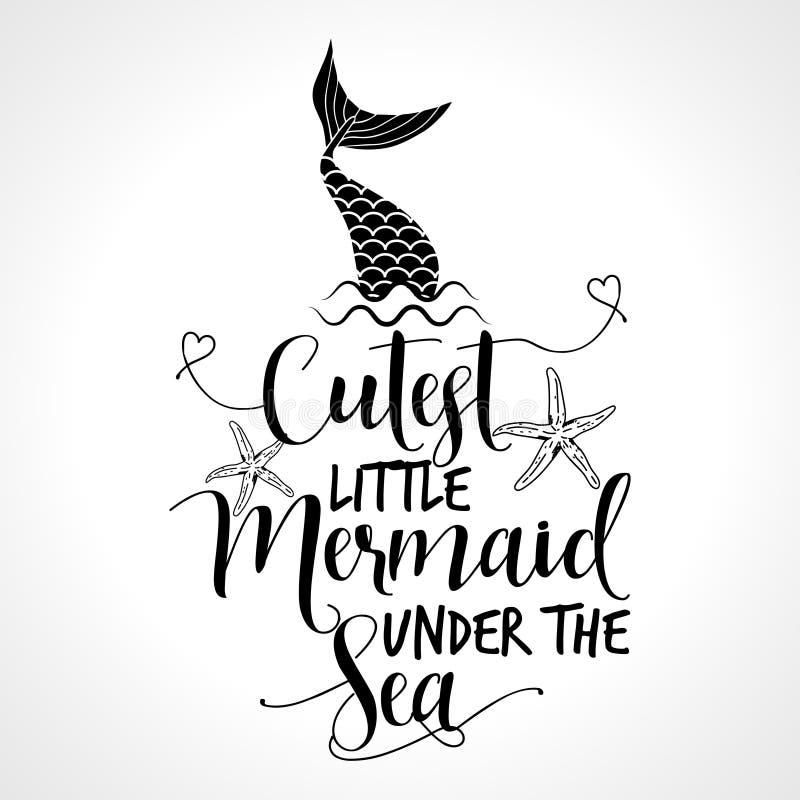 Śliczna mała syrenka pod morzem royalty ilustracja