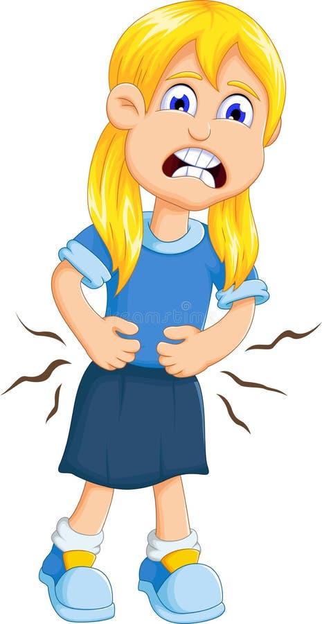 Śliczna małej dziewczynki kreskówki żołądka obolałość ilustracji