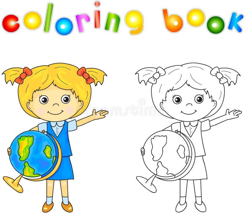 Śliczna małej dziewczynki pozycja z kulą ziemską w rękach i ono uśmiecha się edu royalty ilustracja