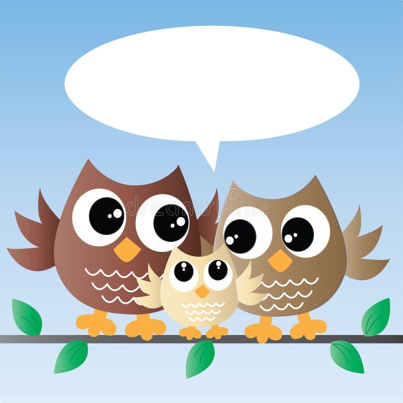 Śliczna małej sowy rodzina ilustracji