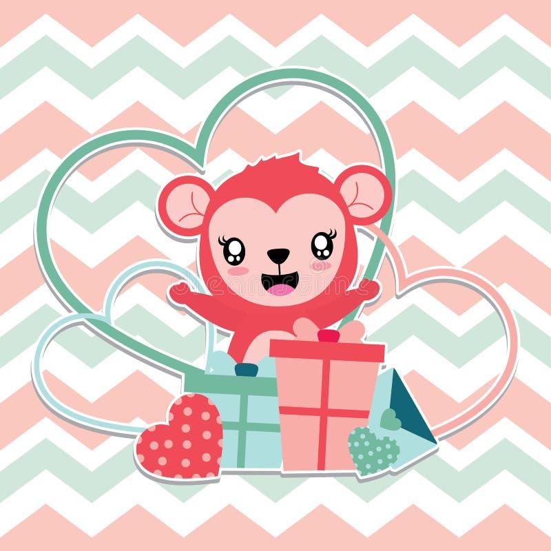 Śliczna małpa jest szczęśliwa dostaje miłość prezenta pudełek kreskówki ilustrację dla Szczęśliwej walentynki karcianego projekta ilustracja wektor