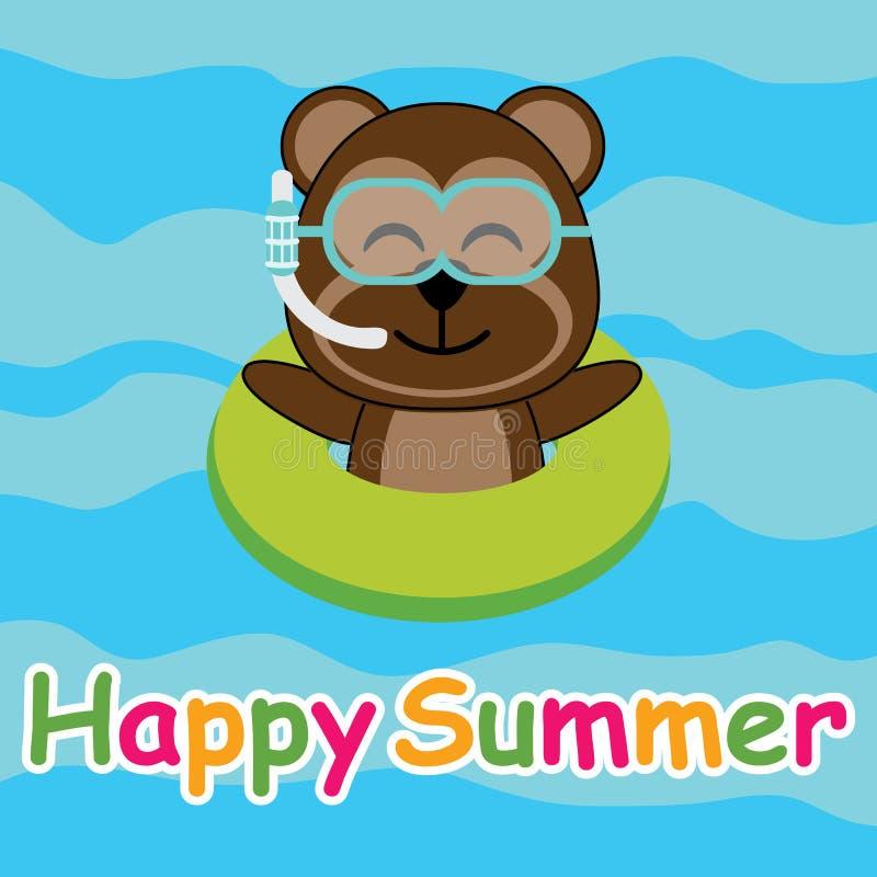 Śliczna małpa swiiming z pływanie pierścionkiem na kreskówce, lato pocztówce, tapecie i kartka z pozdrowieniami plażowych, ilustracji