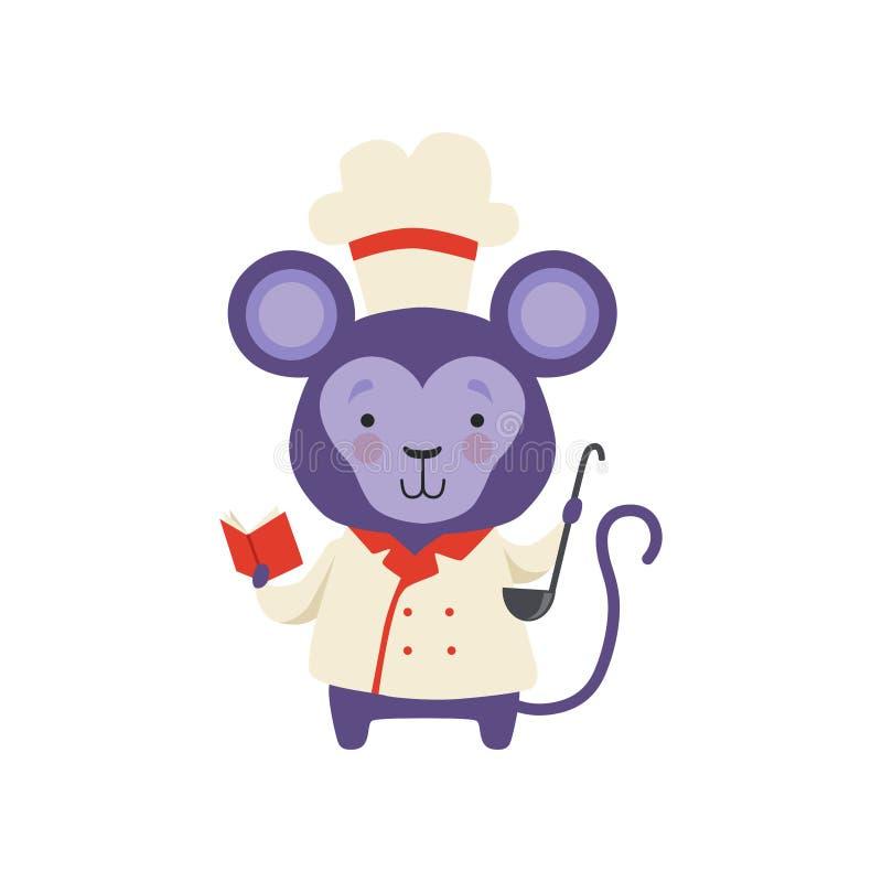 Śliczna małpa w szefa kuchni munduru mienia książce z przepisami i kopyścią, kreskówka zwierzęcego charakteru kulinarna wektorowa ilustracja wektor