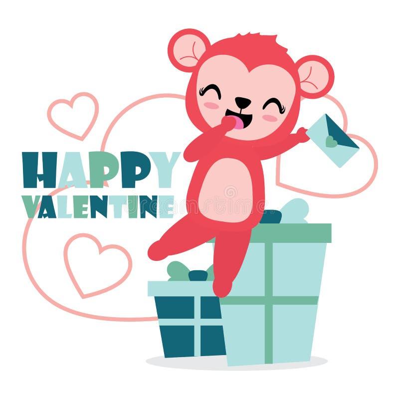 Śliczna małpia dziewczyna jest szczęśliwa dostaje listu miłosnego i prezenta kreskówki ilustrację dla Szczęśliwej walentynki karc ilustracji