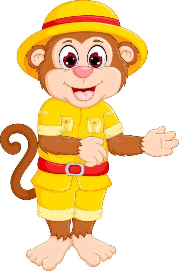 Śliczna małpia kreskówki pozycja z uśmiechem i tanem ilustracji