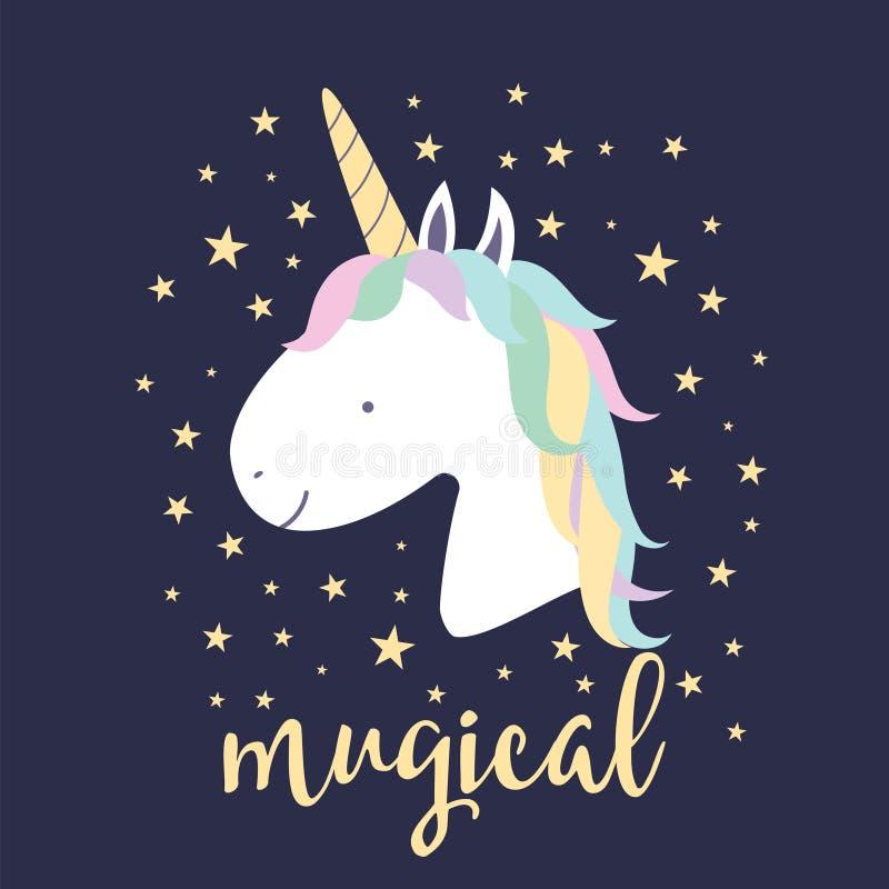 Śliczna magiczna jednorożec Dla ciebie projektuje royalty ilustracja