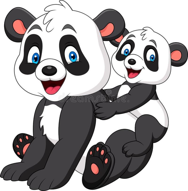 Śliczna matki i dziecka panda royalty ilustracja