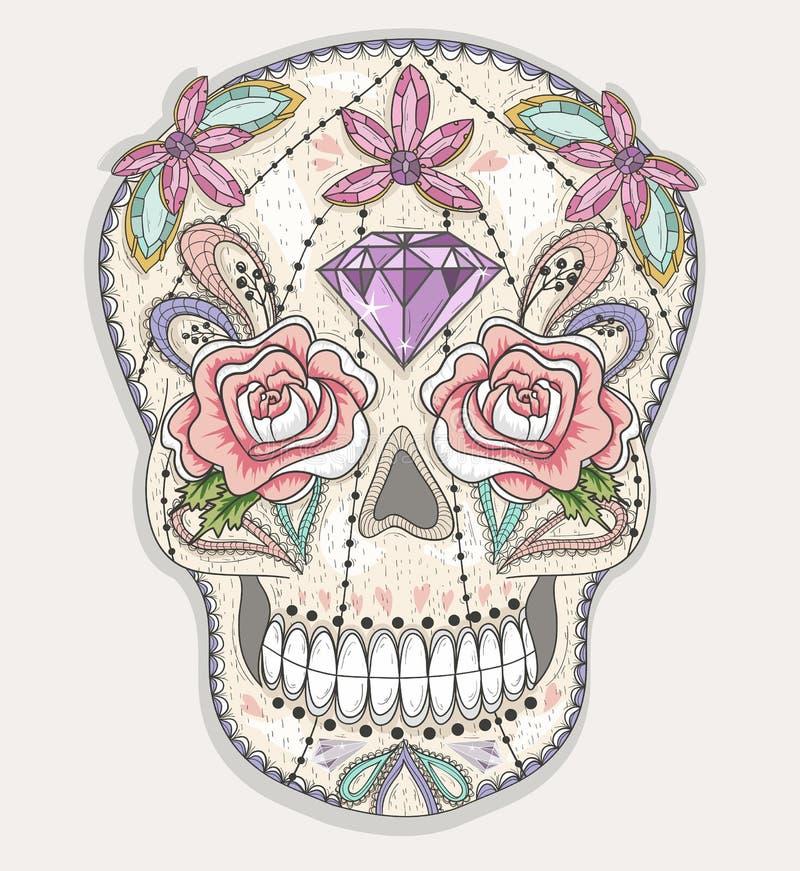 Śliczna meksykańska czaszka Kolorowa czaszka z kwiatem, klejnot ilustracja wektor