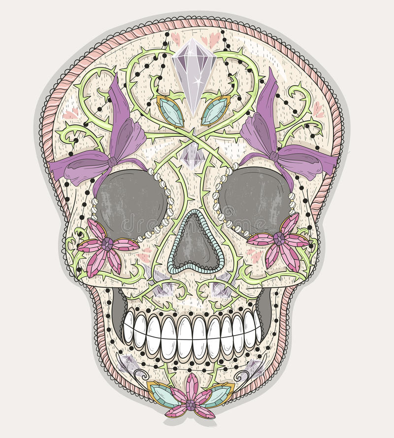 Śliczna meksykańska czaszka Kolorowa czaszka z kwiatem, klejnot, serca ilustracji