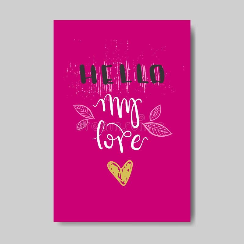 Śliczna miłości kartka z pozdrowieniami projekta nakreślenia walentynki pocztówka W Doodle stylu ilustracja wektor