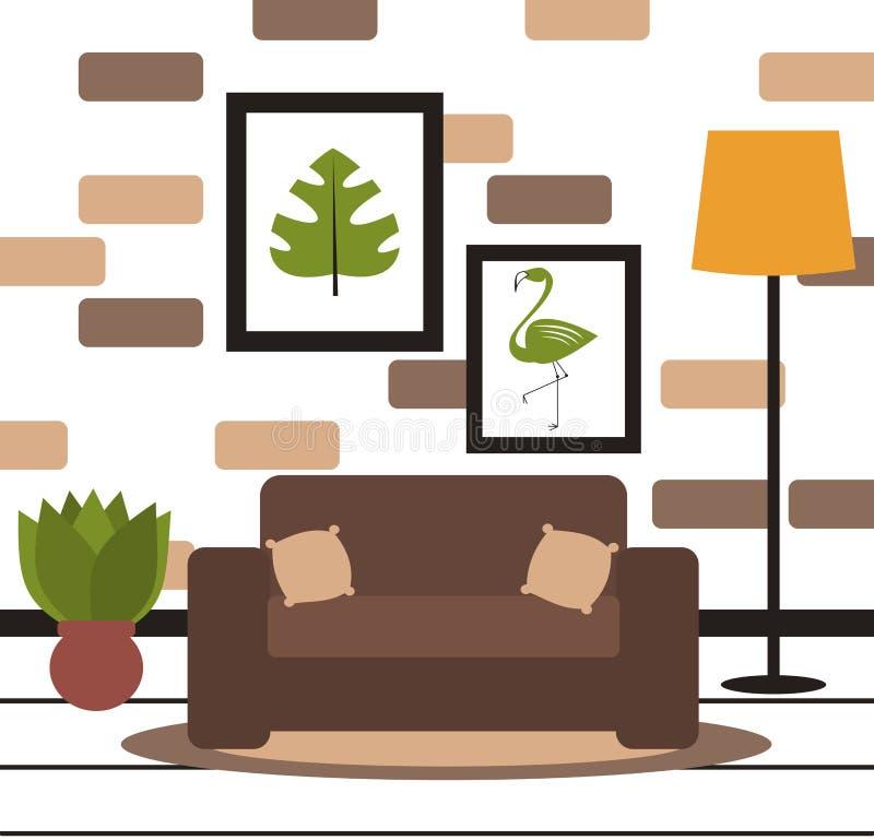 Śliczna minimalistyczna żywa izbowa wektorowa ilustracja royalty ilustracja