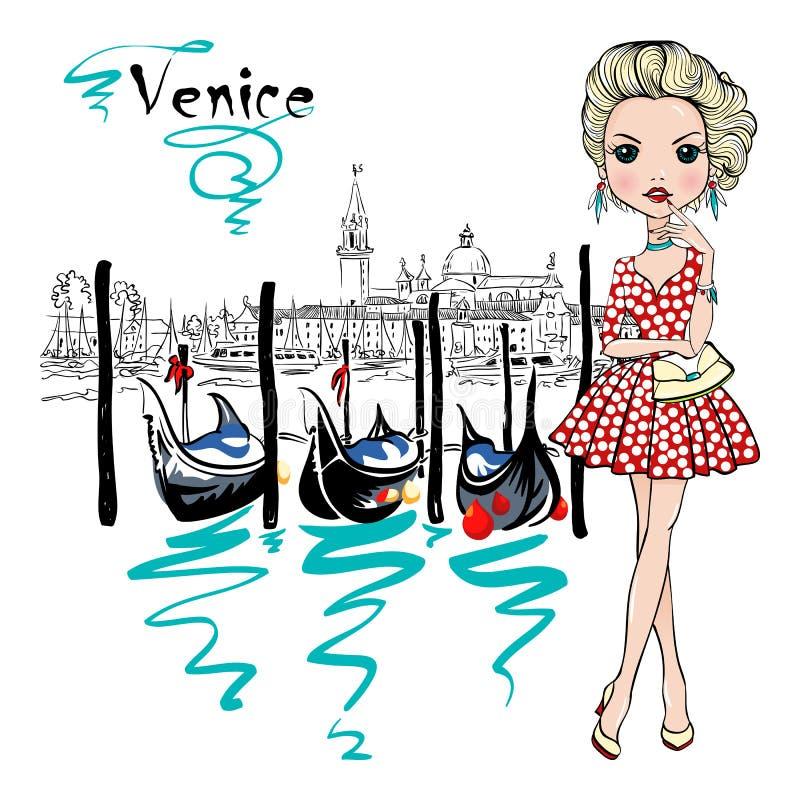 Śliczna mody dziewczyna w Wenecja, Italia ilustracja wektor