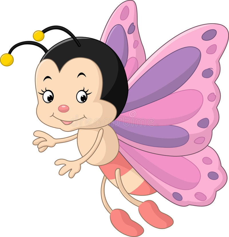 Śliczna motylia kreskówka ilustracja wektor