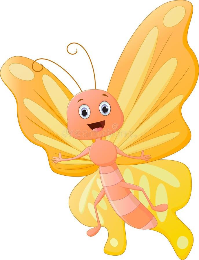 Śliczna motylia kreskówka ilustracji