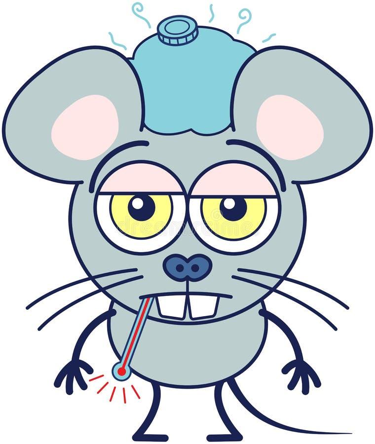 Śliczna mysz czuje z przykrością choroby ilustracja wektor