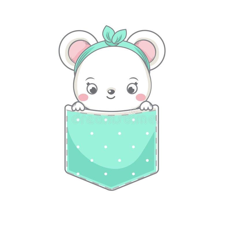Śliczna mysz siedzi w kieszeni Dziecko szczur przyglądający za Wektorowa ilustracja dla moda druków i dzieci, dziecko projekt royalty ilustracja