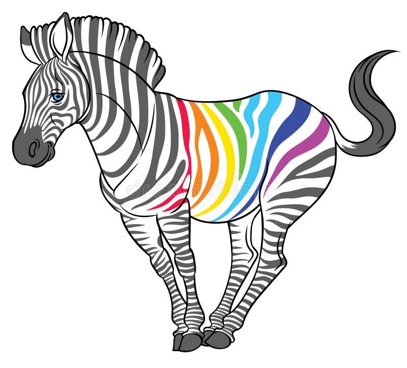 Śliczna naturalistyczna zebra z tęcza lampasami royalty ilustracja