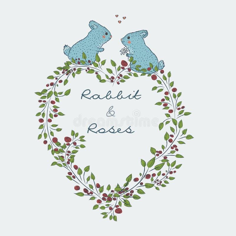 śliczna naturalna rama od gałąź róża z błękitnym królikiem ilustracja wektor