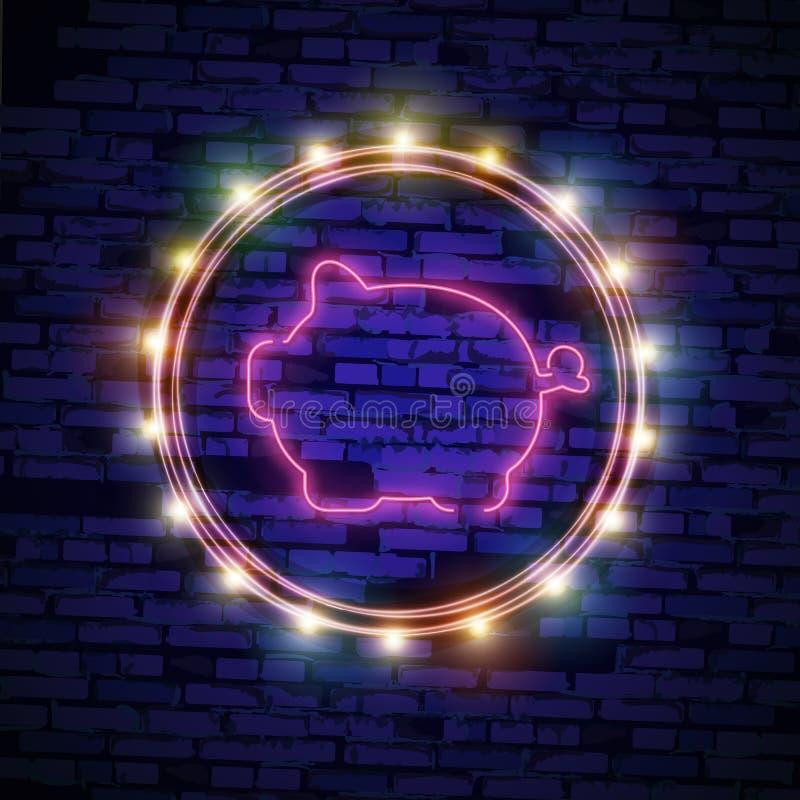 Śliczna Neonowa świnia Szczęśliwy Chiński nowego roku 2019 projekta szablonu wektor Chiński nowy rok Świniowaty kartka z pozdrowi royalty ilustracja
