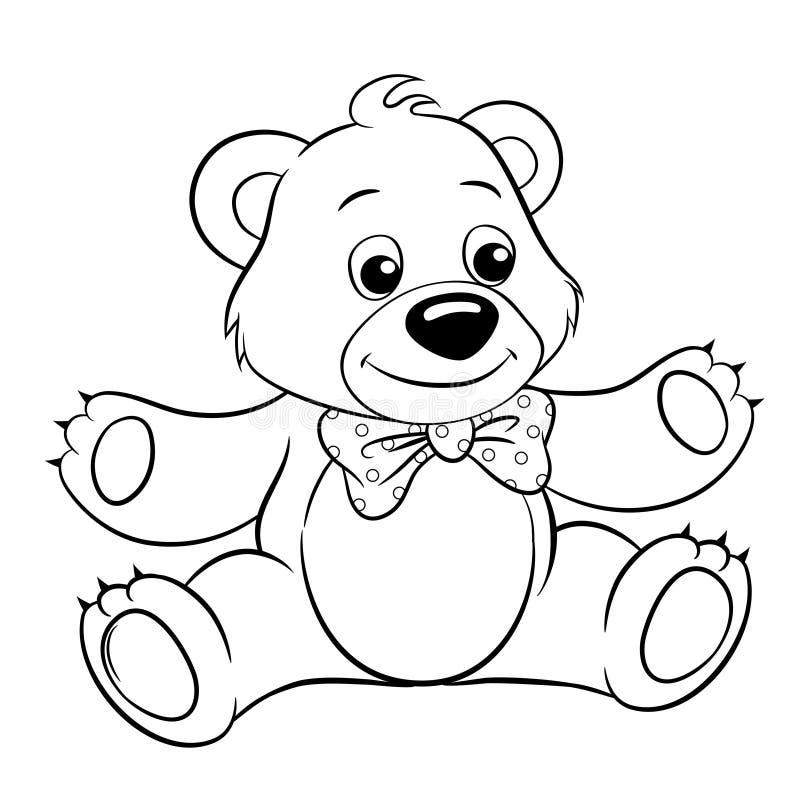 śliczna niedźwiadkowa kreskówka Wektorowa czarny i biały wektorowa ilustracja dla kolorystyki książki ilustracja wektor