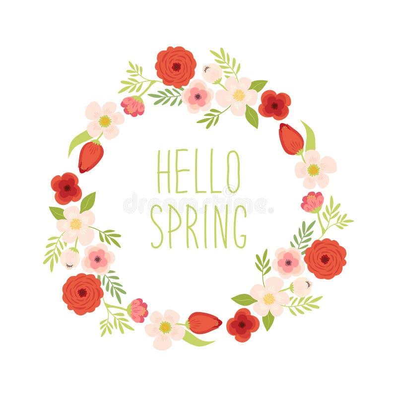 Śliczna nieociosana ręka rysujący Wielkanocny wianek wiosna kwitnie z ręka pisać teksta wiosną Cześć ilustracja wektor