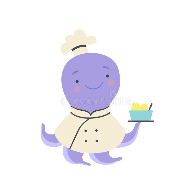 Śliczna ośmiornica w szefa kuchni mundurze trzyma wyśmienicie naczynie, kreskówka zwierzęcego charakteru kulinarna wektorowa ilus ilustracja wektor