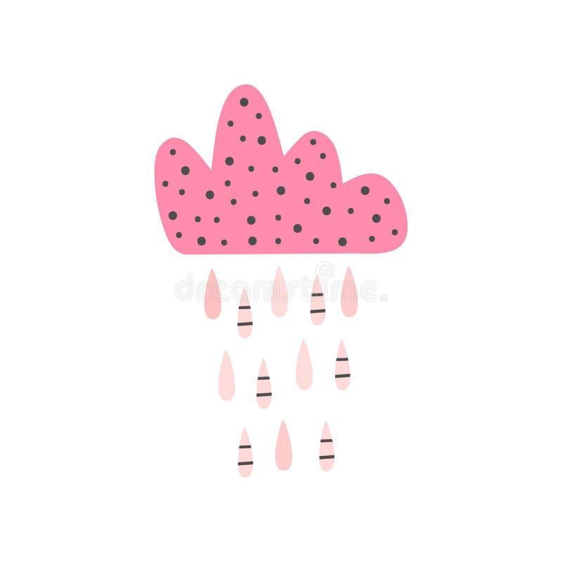 Śliczna odosobniona chmura z raindrops Girly druk, plakat, karta ilustracji