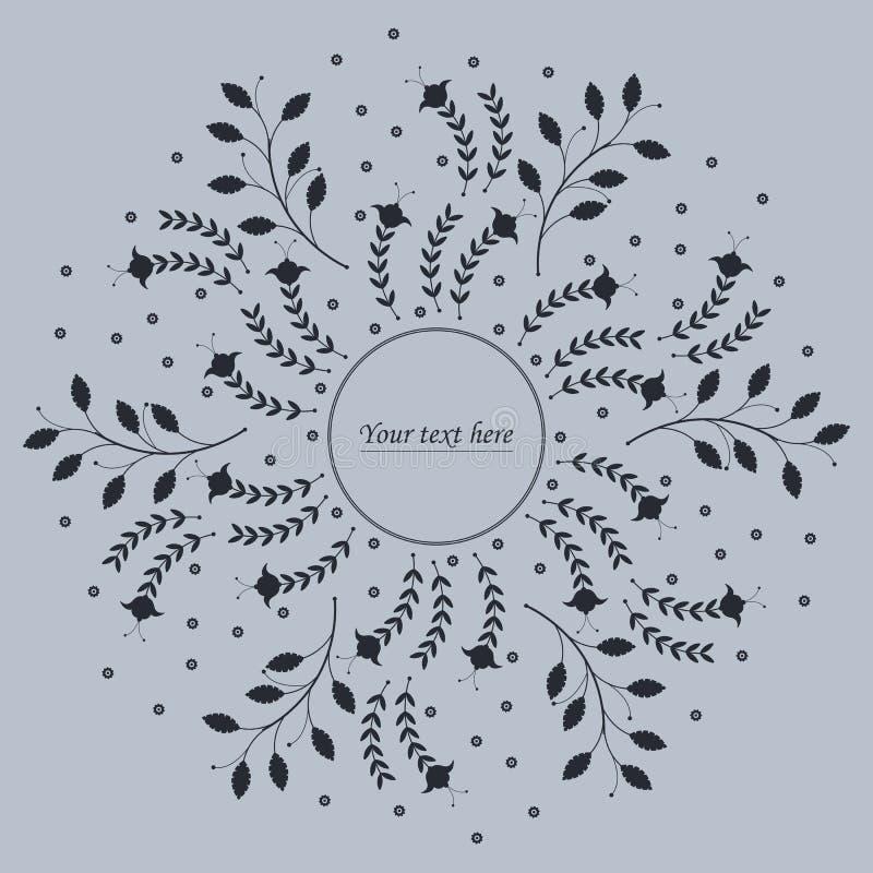Śliczna okrąg rama z kwiatami i liśćmi ilustracja wektor
