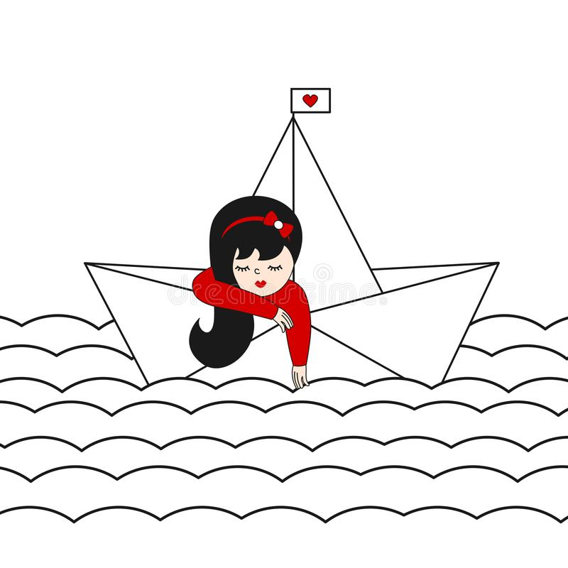 Śliczna osamotniona dziewczyna w papierowym łódkowatym żeglowaniu w dennej wektorowej ilustraci ilustracja wektor